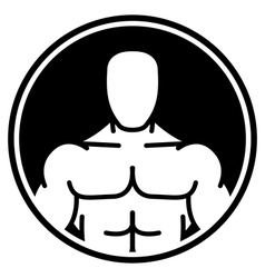 Bodybuilder symbol in black circle vector image