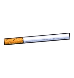 Unlit cigarette with yellow filter side view vector