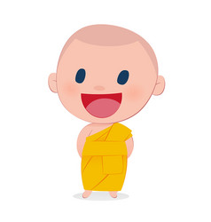 a child monk smile isolate on white background vector image