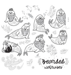 Black and white contour hipster walruses with vector