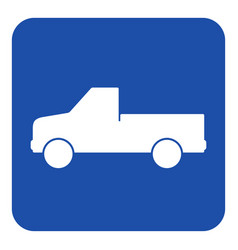 Blue white sign - pickup with a flatbed icon vector