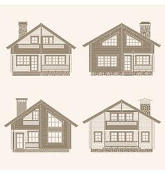 Log houses set vector image