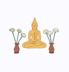 Thai culture concept with buddha sketch vector