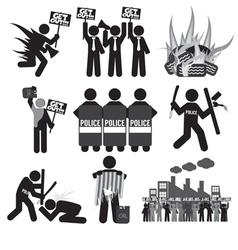 Black Symbol Protest Icon Set vector image
