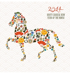 Chinese new year of the Horse composition file vector image