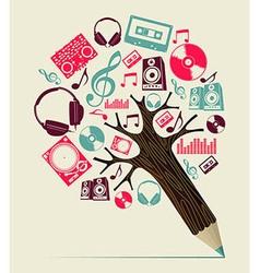 Dj music concept pencil tree vector image vector image