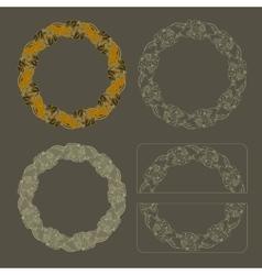 Hand drawn set round floral vintage frames vector image vector image
