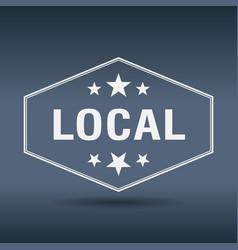 local hexagonal white vintage retro style label vector image vector image