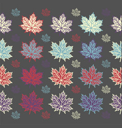 maple leaf seamless pattern on grey background vector image