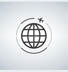 plane around the world vector image