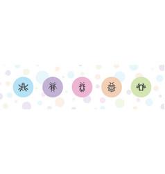 5 bug icons vector