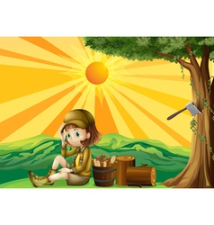 A girl sitting beside the chopped woods vector