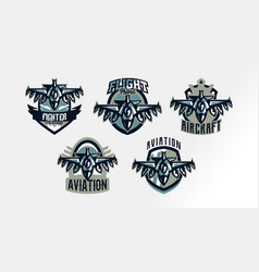 A set of colorful logos badges emblems of a vector