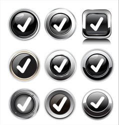 accept icons set check black glossy sign vector image