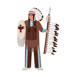 American indian man wearing war bonnet and vector