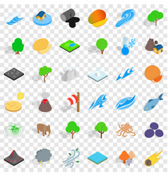 Animal earth icons set isometric style vector