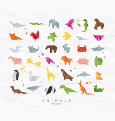 Animals origami set color vector