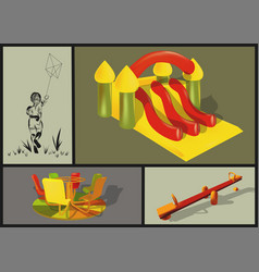 attractions in the children park vector image