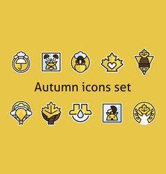 Autumn icons set maple leaf products vector