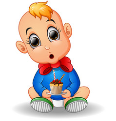 baby cartoon holding birthday cake vector image