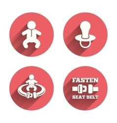Baby infants icons Fasten seat belt symbols vector image