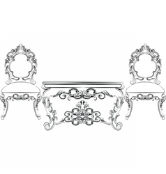 Baroque Luxurious style furniture vector image