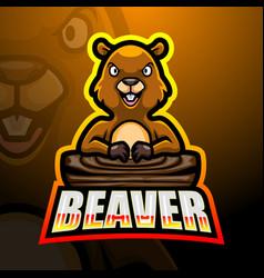 Beaver mascot esport logo design vector