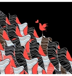 Bird in love and abstraction vector