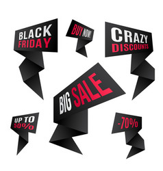 black friday discount design set black flashes vector image