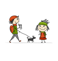 boy and girl walking with dog sketch for your vector image