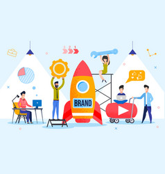 Brand launching product startup process metaphor vector