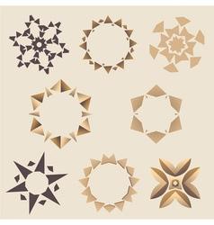 Brown Elementory ornament set vector image