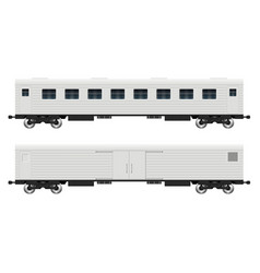 Cargo and passenger railroad cars vector
