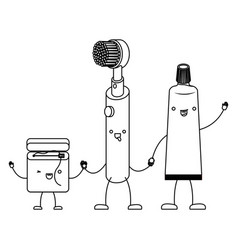 Cartoon dental floss and electric toothbrush and vector