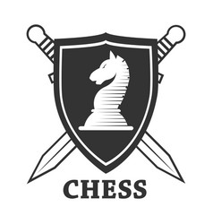 Chess club horse and shield label or badge vector