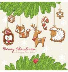 Christmas card with gingerbread cookies vector