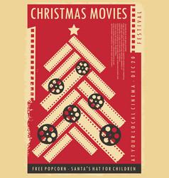 Christmas movie show retro poster design vector
