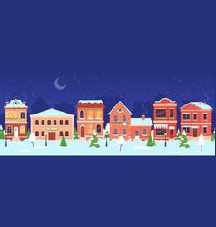 christmas town night winter wonderland street vector image