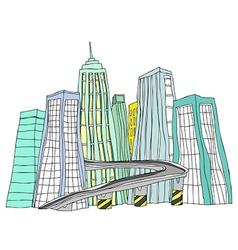 City skyline Sketch vector image