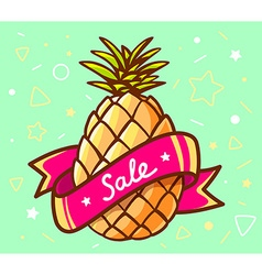 colorful yellow pineapple with red ribbon vector image