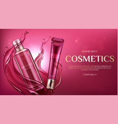 Cosmetic bottles mock up beauty skin care product vector