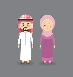 Couple character wearing muslim dress vector