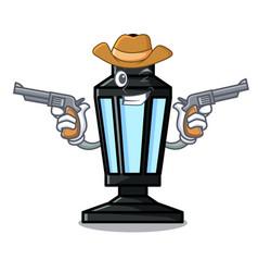 cowboy street lamp character cartoon vector image