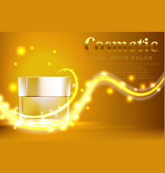 Cream jar cosmetic products ad with shiny gold vector