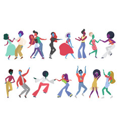 crowd young people dancing at club characters vector image