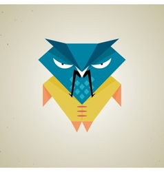 Cute little blue and yellow cartoon samurai owl vector image