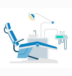 Dental workplace with tools icon flat isolated vector