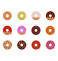 Donuts icon set with a variety of flavors vector