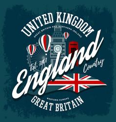 England or britain united kingdom t-shirt print vector