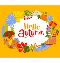Fall season cartoon wreath with hello autumn vector
